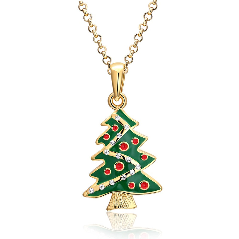 Tree Christmas Inspired Necklace in 18K Gold Plated