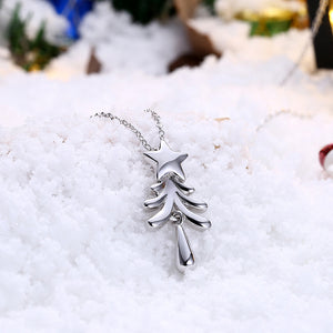 Tree with Star Christmas Inspired Necklace in 18K White Gold Plated