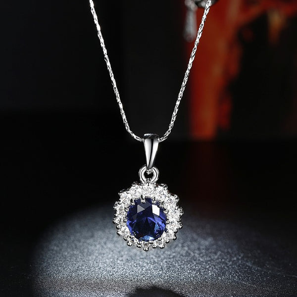 Simulated Sapphire Necklace Set in 18K White Gold Plated