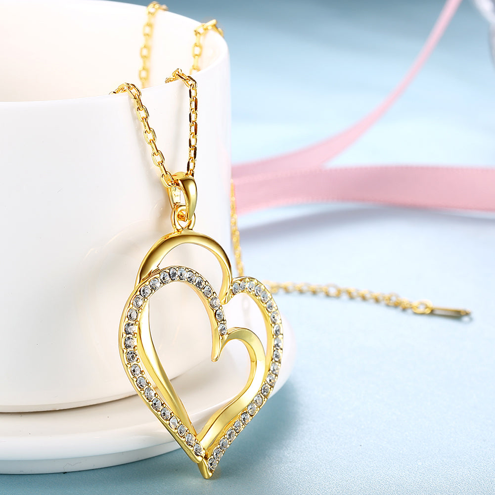 Curved Duo Intertwined Heart Shaped Swarovski Elements Necklace in 14K Gold, Necklaces, Golden NYC Jewelry, Golden NYC Jewelry  jewelryjewelry deals, swarovski crystal jewelry, groupon jewelry,, jewelry for mom,