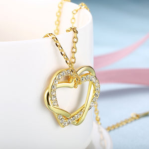 Duo Intertwined Heart Shaped Swarovski Elements Necklace in 14K Gold, Necklaces, Golden NYC Jewelry, Golden NYC Jewelry  jewelryjewelry deals, swarovski crystal jewelry, groupon jewelry,, jewelry for mom,