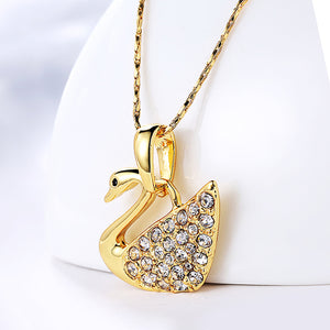 Pave Swan Necklace in 18K Gold Plated
