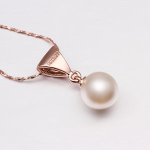 Freshwater Pearl Necklace in 18K White Gold Plated