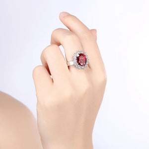 Ruby Blossoming Pav'e Ring in 18K White Gold