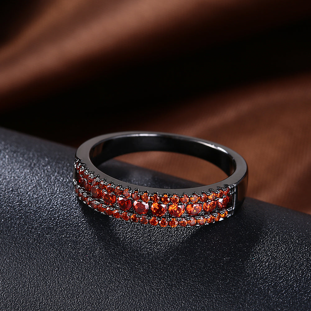 Red Austrian Two-Lining Ring in Black Gun Plating