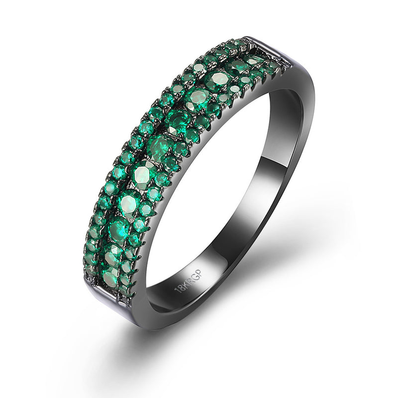 Green Swarovski Two-Lining Ring in Black Gun Plating, , Golden NYC Jewelry, Golden NYC Jewelry  jewelryjewelry deals, swarovski crystal jewelry, groupon jewelry,, jewelry for mom,