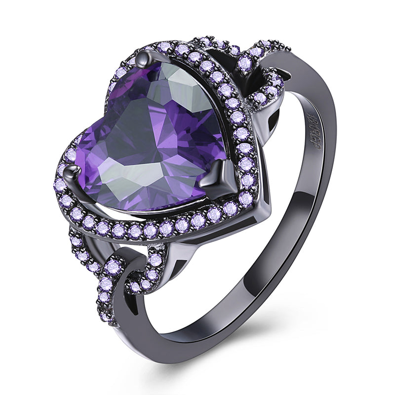 Purple Austrian Heart Shaped Cocktail Ring