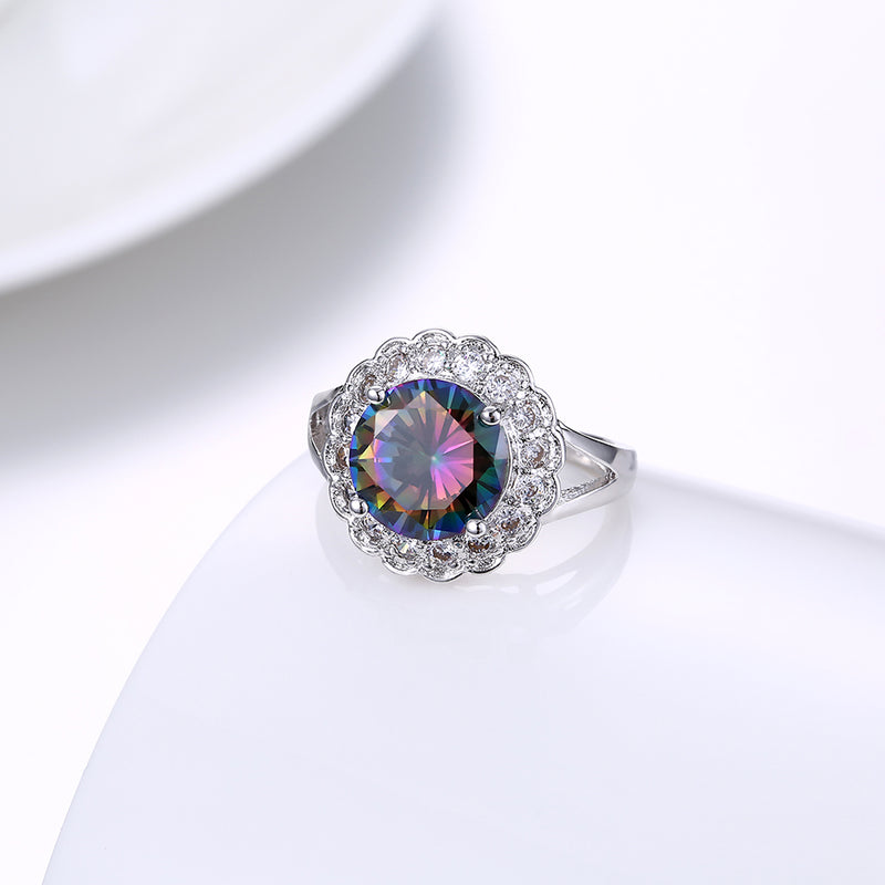 Mystic Topaz Blossoming Pav'e Cocktail Ring