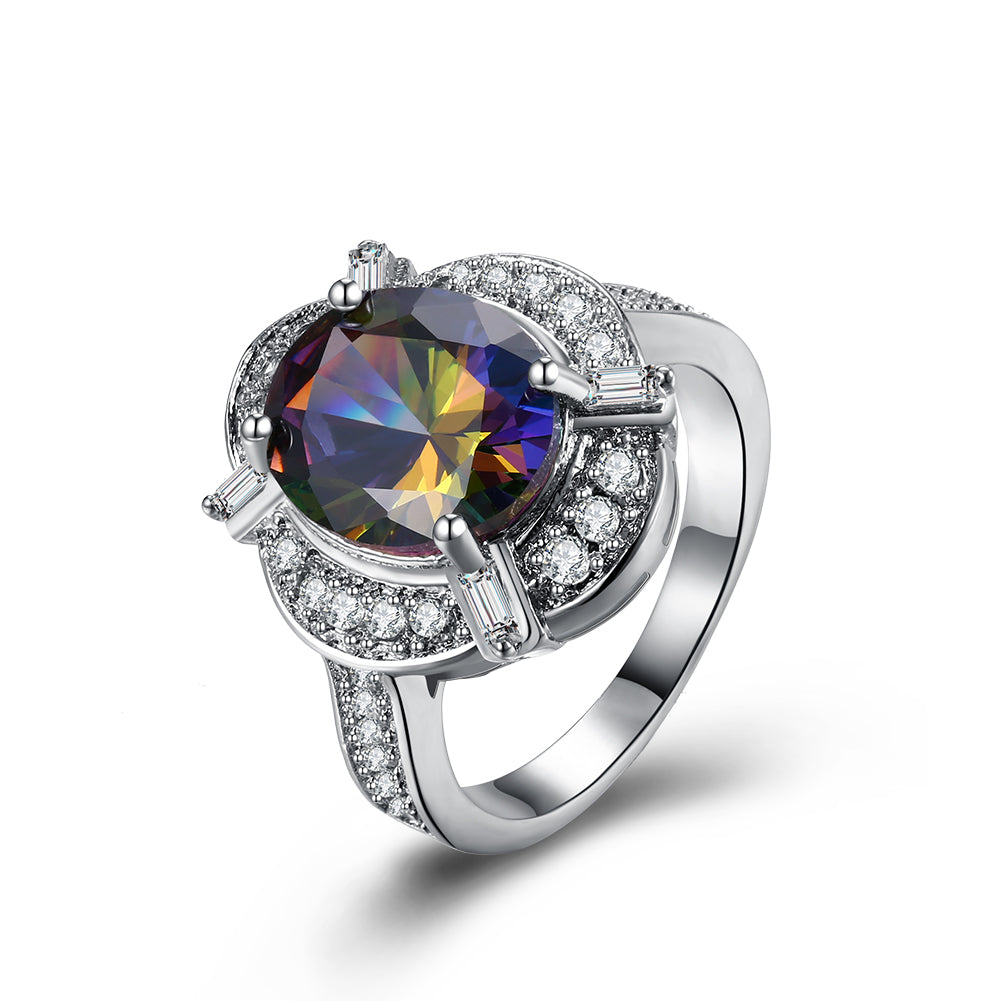 Mystic Topaz Circular Gemstone Cocktail Ring in 18K White Gold