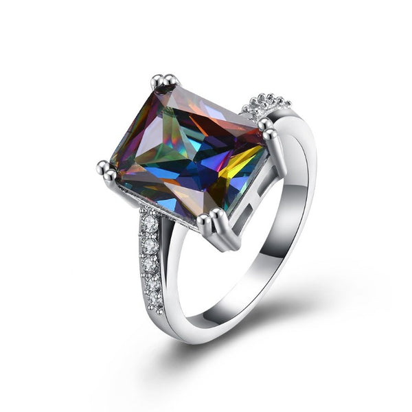 Mystic Topaz Emerald Cut Pav'e Cocktail Ring, , Golden NYC Jewelry, Golden NYC Jewelry fashion jewelry, cheap jewelry, jewelry for mom,