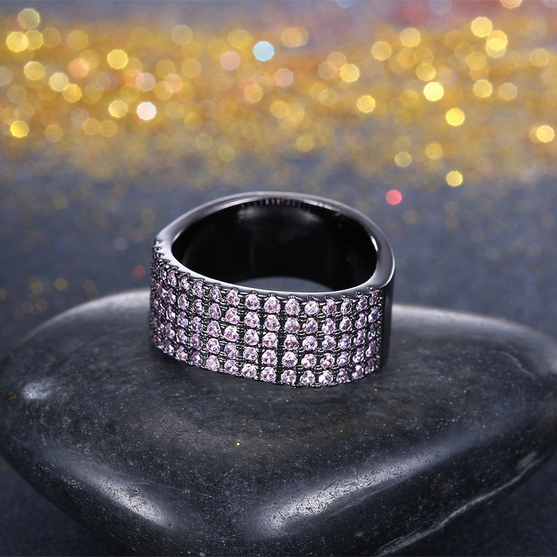 Purple Austrian Five Lining Cocktail Black Gun Plating Ring