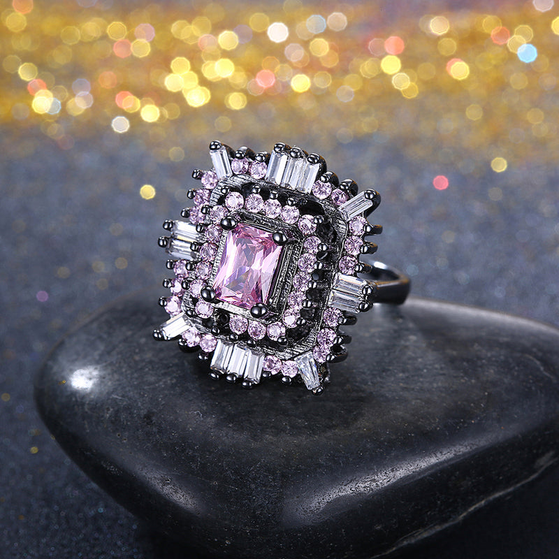 Pink & White Austrian Halo Ring in Black Gun Plating