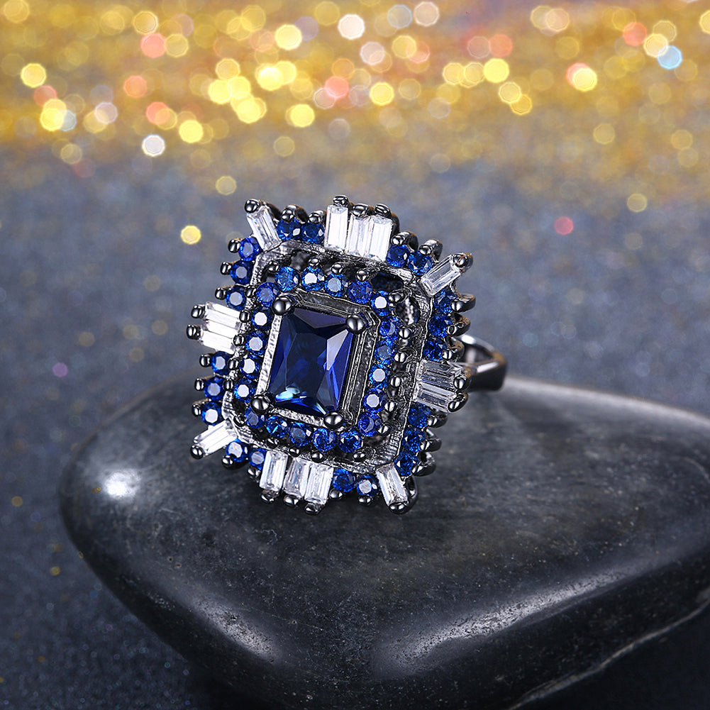 Blue & White Swarovski Halo Ring in Black Gun Plating, , Golden NYC Jewelry, Golden NYC Jewelry  jewelryjewelry deals, swarovski crystal jewelry, groupon jewelry,, jewelry for mom,