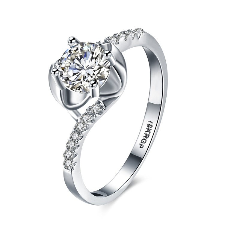 1.00 CTTW Engagement Cut Floral White Crystal Pav'e Ring, Rings, Golden NYC Jewelry, Golden NYC Jewelry  jewelryjewelry deals, swarovski crystal jewelry, groupon jewelry,, jewelry for mom,