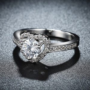 Pav'e Heart Princess Cut Engagement Ring - Golden NYC Jewelry www.goldennycjewelry.com fashion jewelry for women