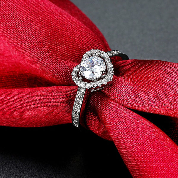 18K White Gold Plated Princess Heart Engagement Ring - Golden NYC Jewelry www.goldennycjewelry.com fashion jewelry for women