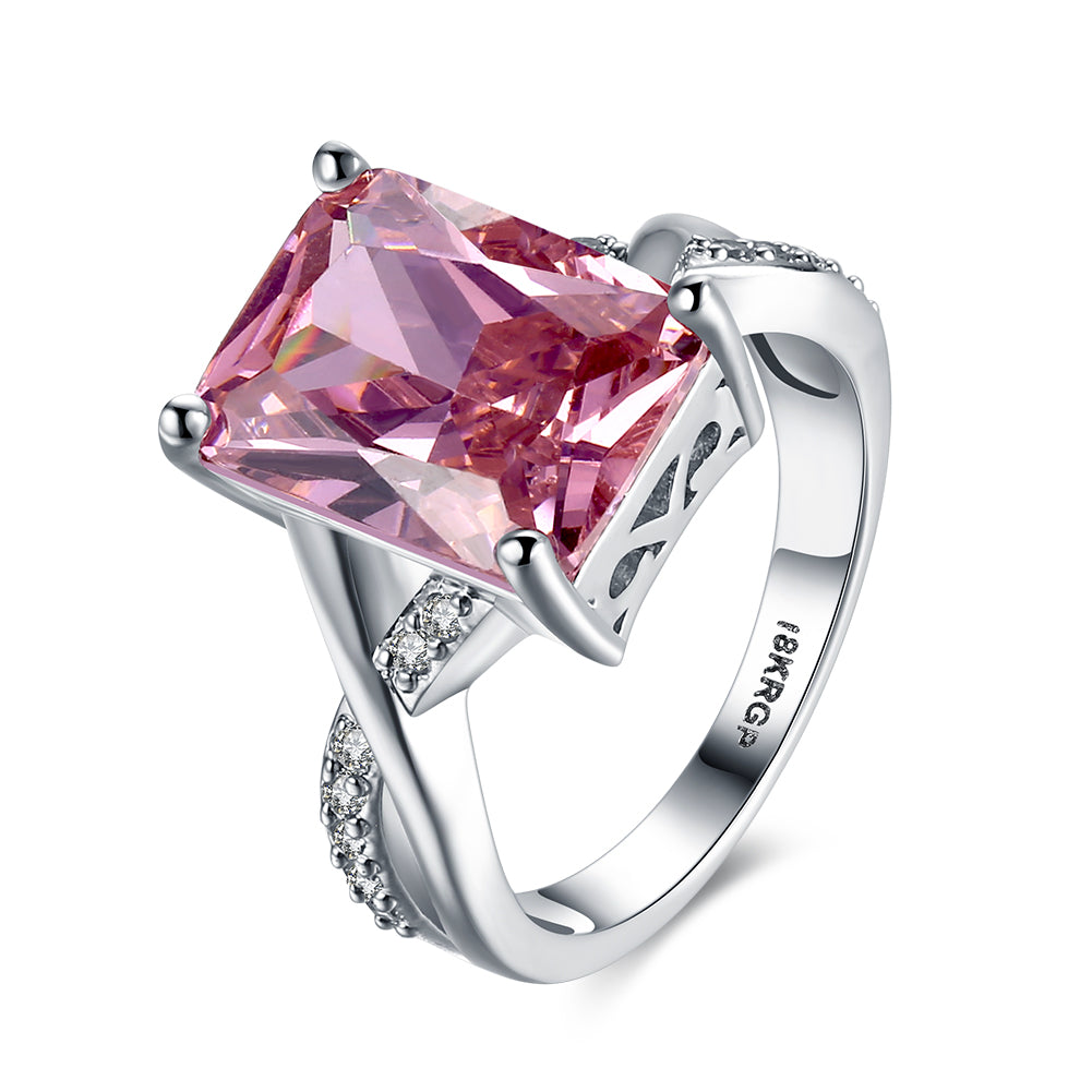 Emerald Cut Pink Crystal Swirl Ring Set in 18K White Gold Plating Made with Swarovski Elements, , Golden NYC Jewelry, Golden NYC Jewelry  jewelryjewelry deals, swarovski crystal jewelry, groupon jewelry,, jewelry for mom,