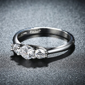 Three Stone Austrian Elements Ring in 18K White Gold