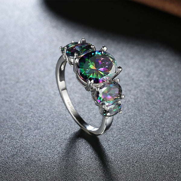 Five Stone Mystic Fire Topaz 18K White Gold Plated Ring - Golden NYC Jewelry www.goldennycjewelry.com fashion jewelry for women