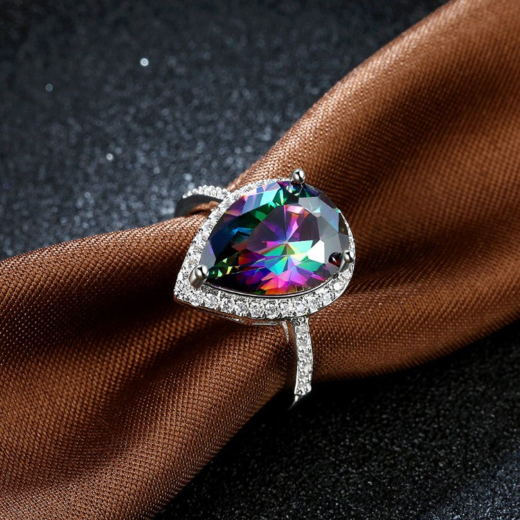 4.00 CTTW Genuine Rainbow Topaz Pear Cut Sterling Silver Ring, Rings, Golden NYC Jewelry, Golden NYC Jewelry  jewelryjewelry deals, swarovski crystal jewelry, groupon jewelry,, jewelry for mom,