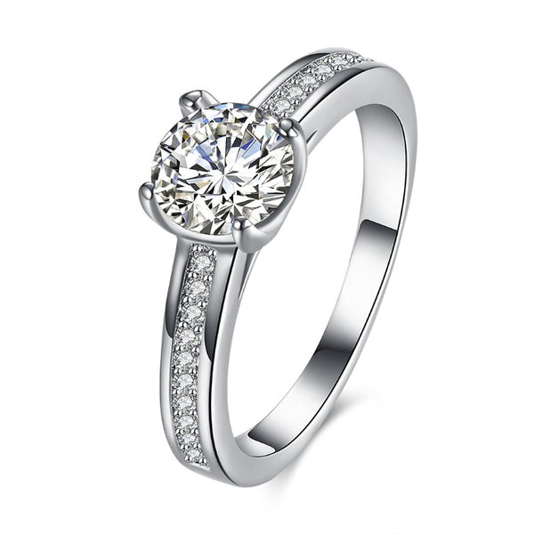 Filigree Solitaire Engagement Ring Set in 18K White Gold