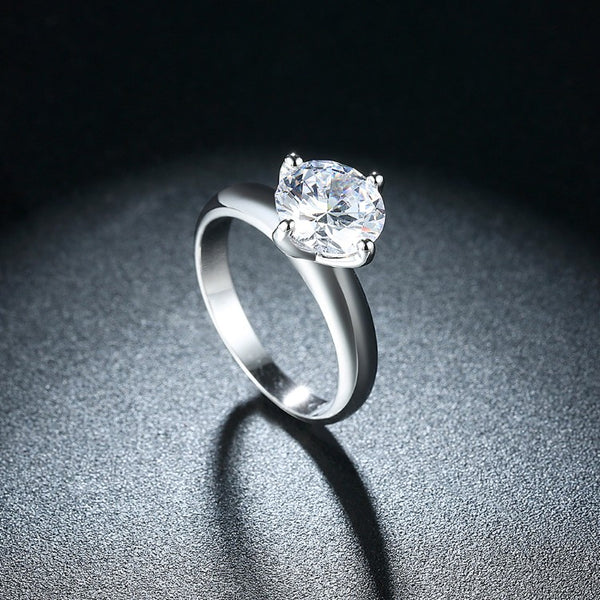 Single Solitaire Princess Cut Engagement Ring Set in White Gold