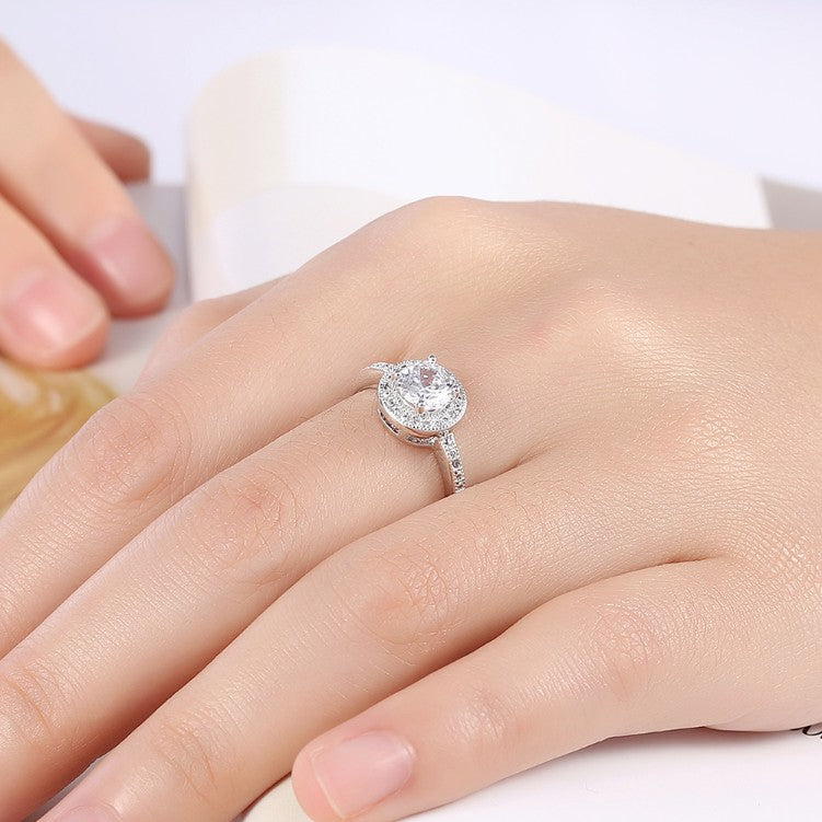 Pave Round Halo Disc 4 Prong Ring in 18K White Gold Plated - Golden NYC Jewelry www.goldennycjewelry.com fashion jewelry for women