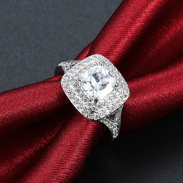 2.50 ct Cushion Double Halo Square Engagement Ring - Golden NYC Jewelry www.goldennycjewelry.com fashion jewelry for women