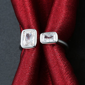 Duo Emerald Cut Swarovski Elements Adjustable White Gold Ring, , Golden NYC Jewelry, Golden NYC Jewelry  jewelryjewelry deals, swarovski crystal jewelry, groupon jewelry,, jewelry for mom,