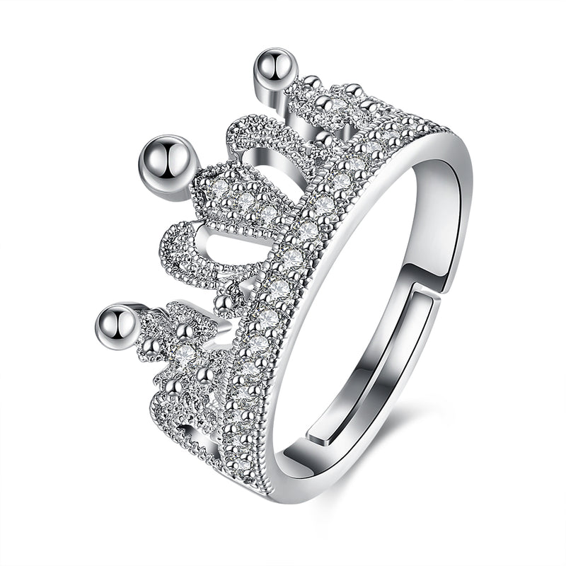 Austrian Elements Adjustable Princess Tiara Ring in 18K White Gold Plating