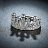 Swarovski Elements Adjustable Princess Tiara Ring in 18K White Gold Plating