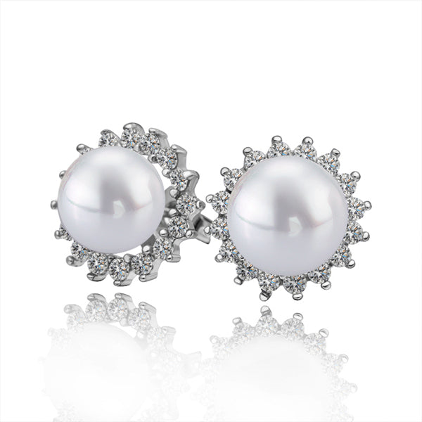 Classic Pearl and Swarovski Crystal Stud Earrings in 18K White Gold