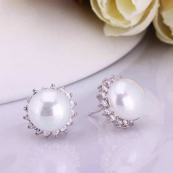 Classic Pearl and Swarovski Crystal Stud Earrings in 18K White Gold - Golden NYC Jewelry www.goldennycjewelry.com fashion jewelry for women