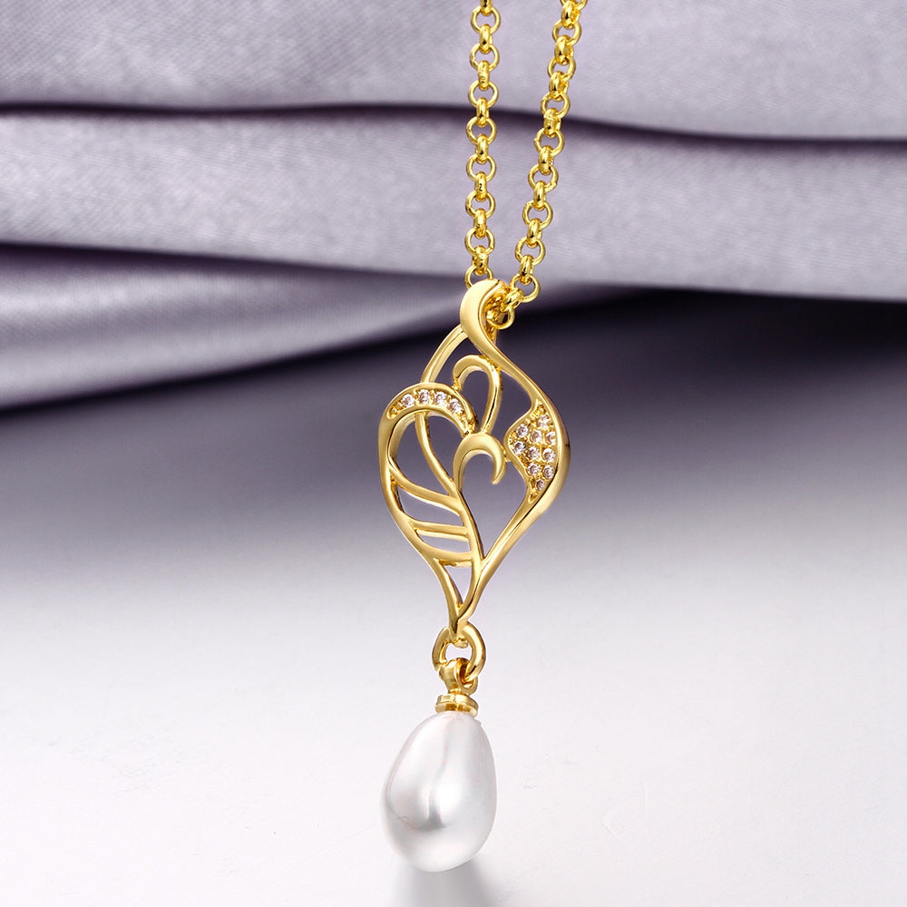 Freshwater Pearl Swarovski Curved Pendant Necklace in 14K Gold, Necklaces, Golden NYC Jewelry, Golden NYC Jewelry  jewelryjewelry deals, swarovski crystal jewelry, groupon jewelry,, jewelry for mom,