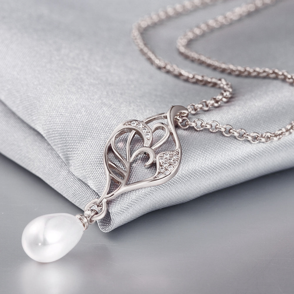 Freshwater Pearl Swarovski Curved Pendant Necklace in 18K White Gold, Necklaces, Golden NYC Jewelry, Golden NYC Jewelry  jewelryjewelry deals, swarovski crystal jewelry, groupon jewelry,, jewelry for mom,