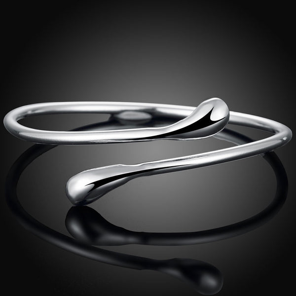 Teardrop Bangle in Sterling Silver Plating - Golden NYC Jewelry www.goldennycjewelry.com fashion jewelry for women