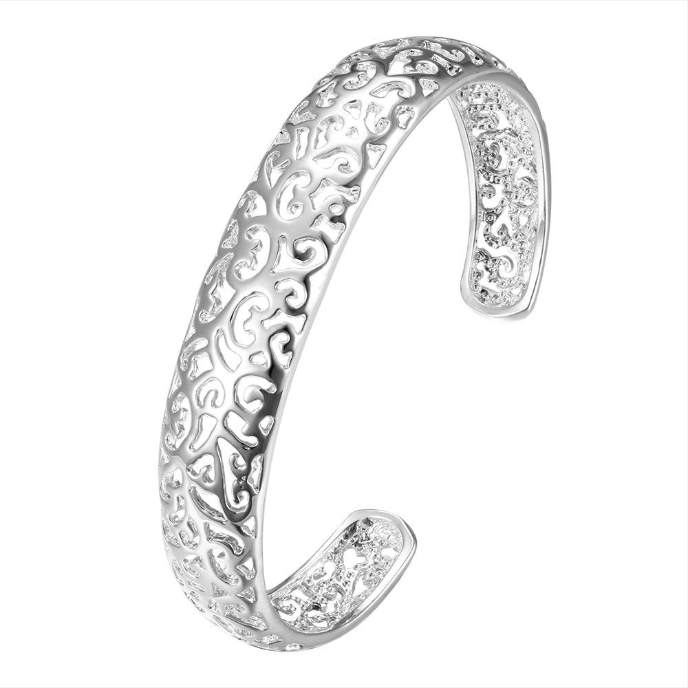 Silver Filigree Open Cuff Bangle