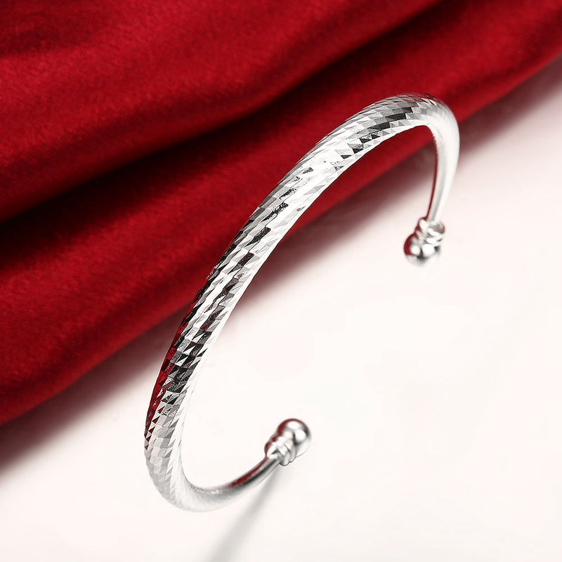 Diamond Cut Adjustable Cuff Bangle in 18K White Gold Plated, Bangle, Golden NYC Jewelry, Golden NYC Jewelry  jewelryjewelry deals, swarovski crystal jewelry, groupon jewelry,, jewelry for mom,