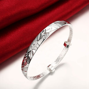 Women's Silver Plated Floral Ingrain Design Bangle - Golden NYC Jewelry www.goldennycjewelry.com fashion jewelry for women