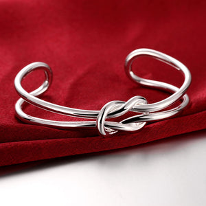 Tie Knot Cuff Bangle in 18K White Gold Plated