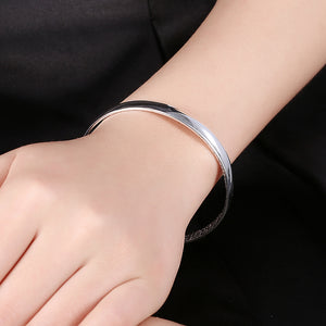 Smooth Cuff Bangle in 18K White Gold Plated