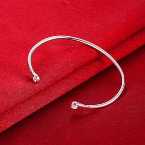 Round Cuff Bangle in 18K White Gold Plated