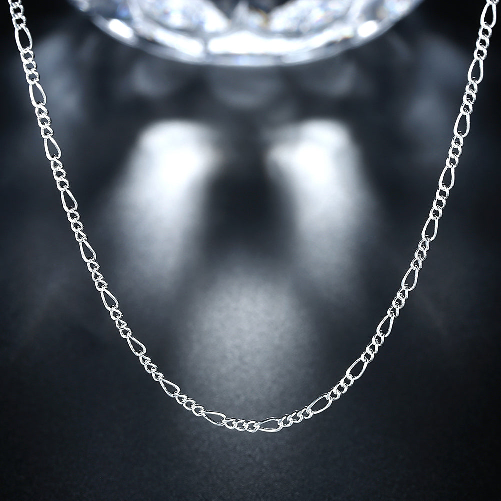 18K White Gold Plated  Cuban Figaro Chain Necklace, , Golden NYC Jewelry, Golden NYC Jewelry  jewelryjewelry deals, swarovski crystal jewelry, groupon jewelry,, jewelry for mom,