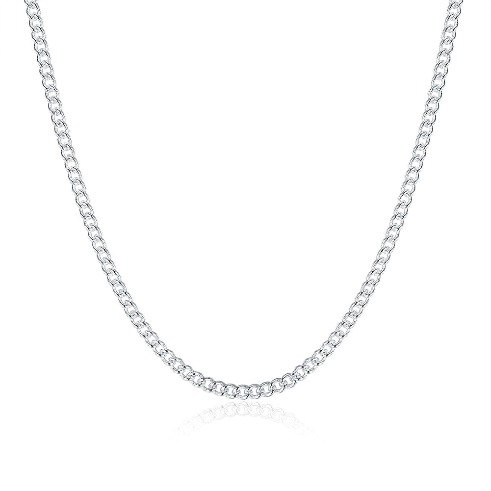 18K White Gold Plated  Classic Curb Chain Necklace, , Golden NYC Jewelry, Golden NYC Jewelry  jewelryjewelry deals, swarovski crystal jewelry, groupon jewelry,, jewelry for mom,