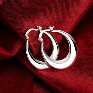 French Locksmooth Hoop Earring in 18K White Gold Plated