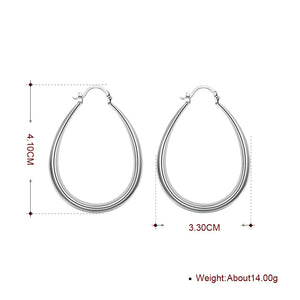 40mm French Lock Hoop Earring in 18K White Gold Plated, Earring, Golden NYC Jewelry, Golden NYC Jewelry  jewelryjewelry deals, swarovski crystal jewelry, groupon jewelry,, jewelry for mom,