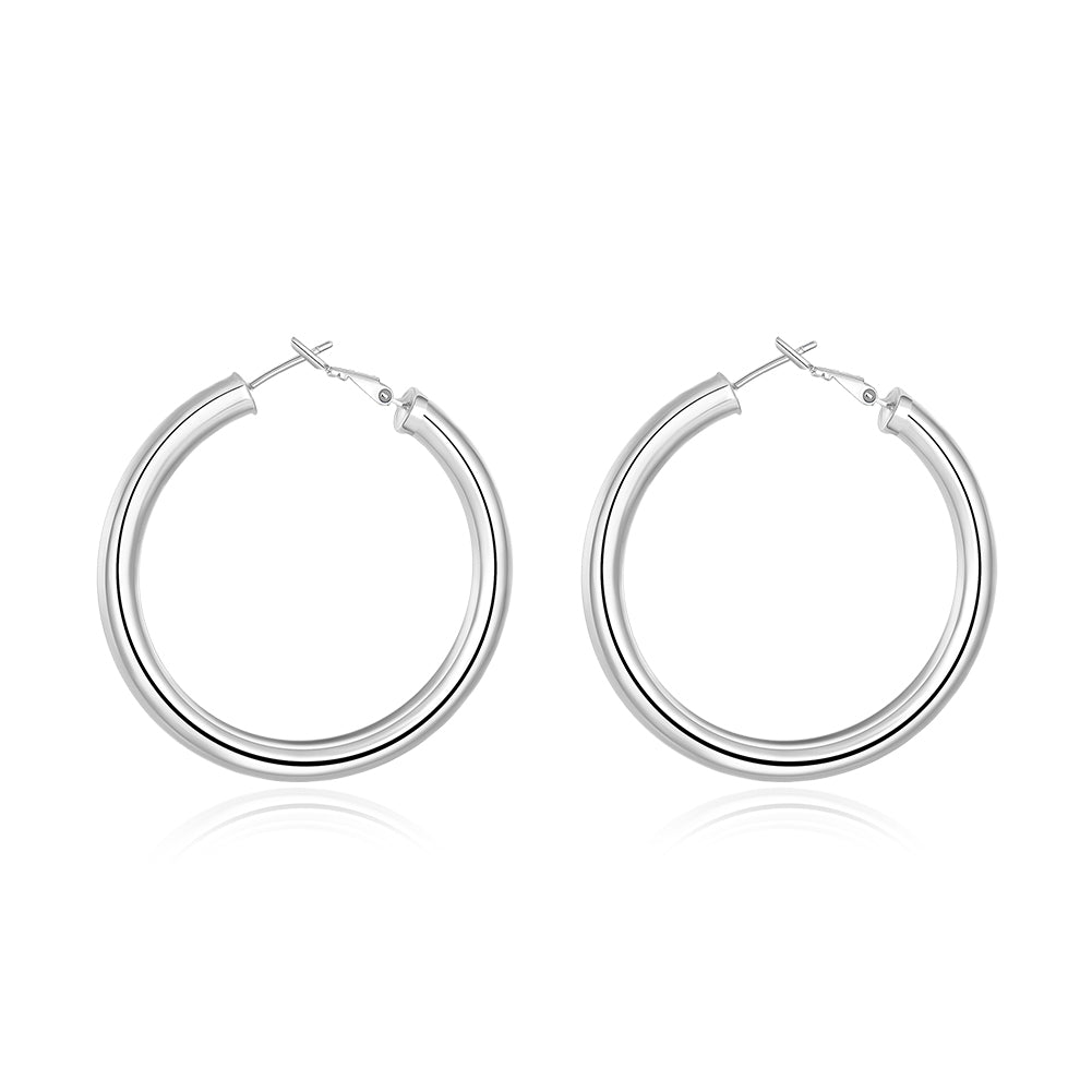 Round Tube Hoop Earring in 18K White Gold Plated