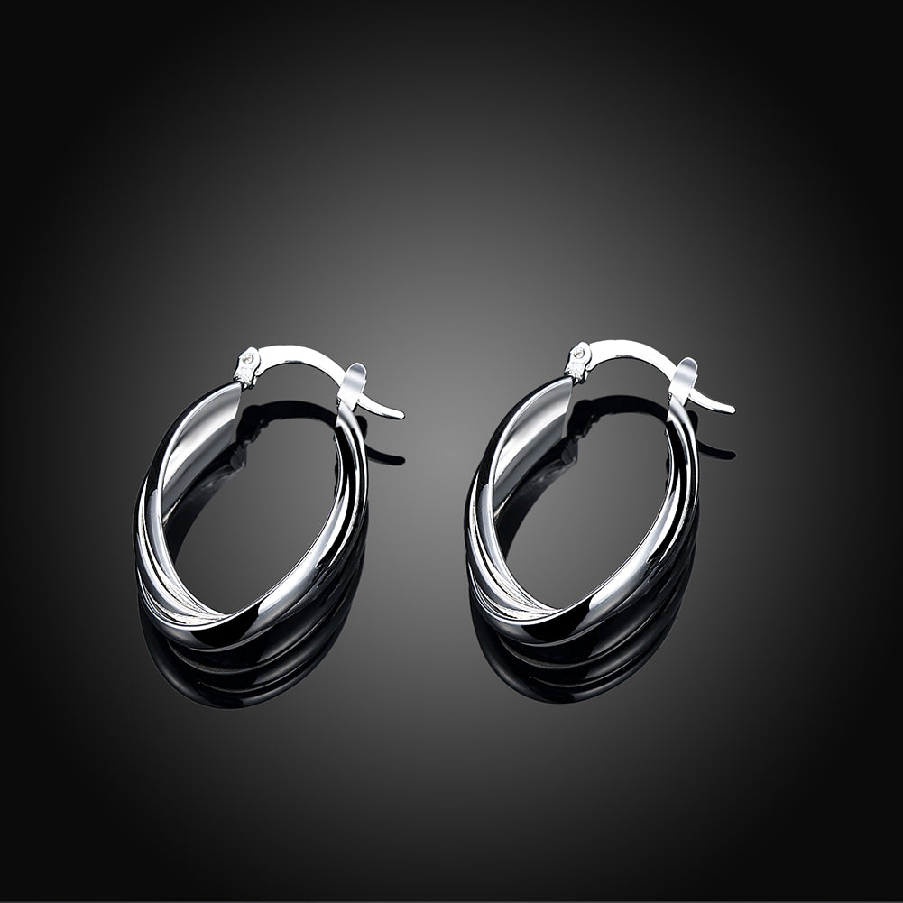 Layering Hoop Earring in 18K White Gold Plated