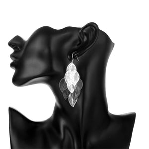 Filigree Leaf Drop Earring in 18K White Gold Plated
