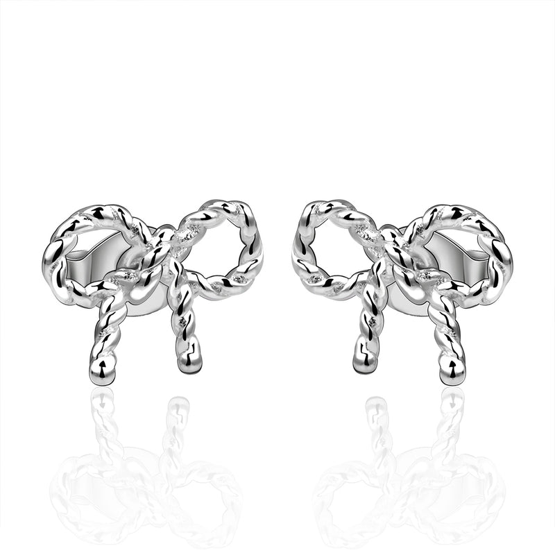 Twist Stud Earring in 18K White Gold Plated